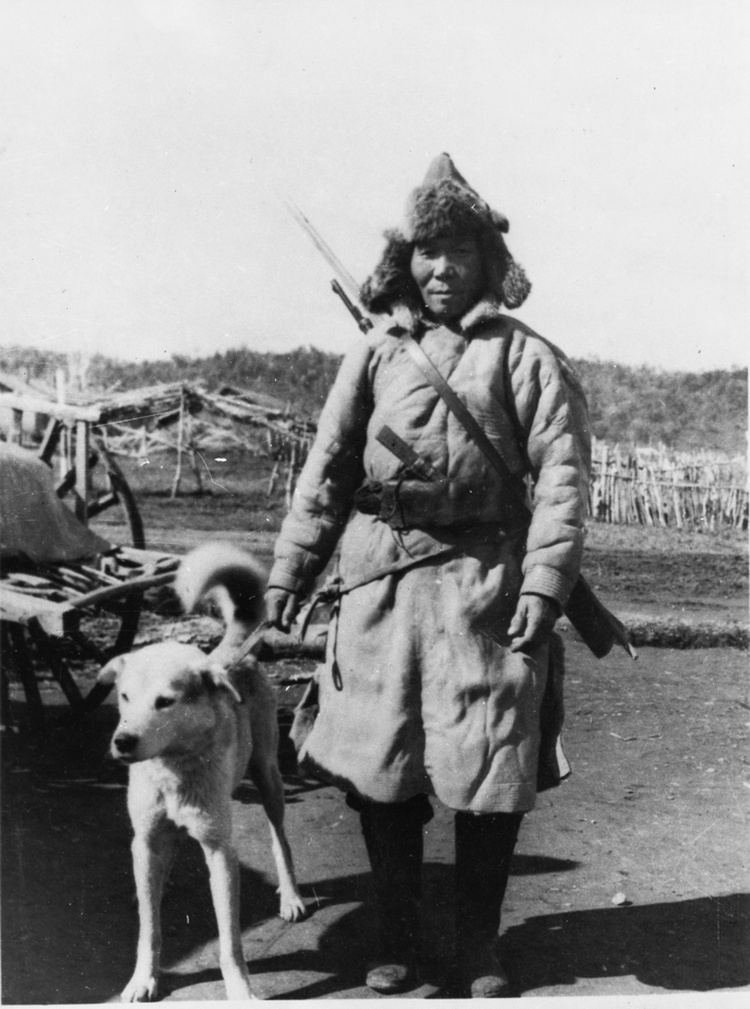 Orochen with dog, 1961