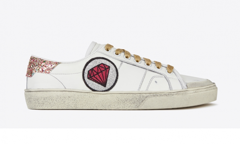 8. SIGNATURE COURT CLASSIC SL37 DIAMOND PATCH SNEAKER IN OFF WHITE DISTRESSED LEATHER AND MULTICOLOR WOVEN FABRIC (457829_CN5O0_9138) - HK$ 4,950.jpg