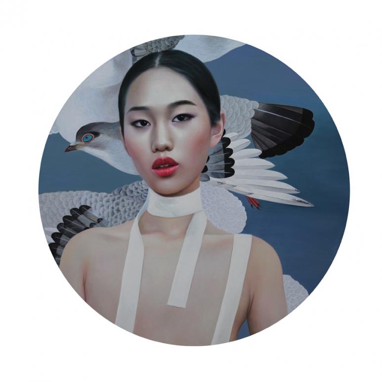 白草鸽 直径150cm 油画和丙烯 2016年副本.jpg