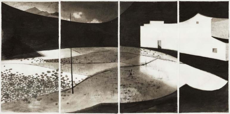 沈勤Shen Qin_黑·村 11.15 Ink Village 11.15_紙本水墨,四聯Ink on paper, Tetraptych_139 x 267 cm_2015_艾米李畫廊,北京Amy Li Gallery, Beijing.jpg