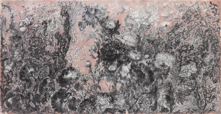 彭康隆Peng Kanglong_花魂 Soul of Flowers_紙上水墨Ink on paper_188 x 96.5 cm _2016_3812畫廊,香港 3812 Gallery Hong Kong.jpg