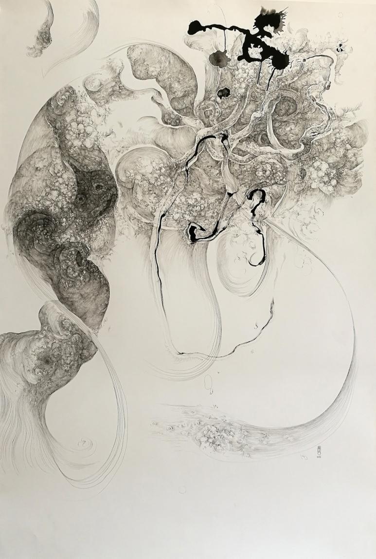 林國成Lin Guocheng_暗香系列二Hidden Fragrance II_鋼筆水墨、紙本Pen and Chinese ink on paper_237x152cm_3812畫廊,香港3812 Gallery, Hong Kong.jpg