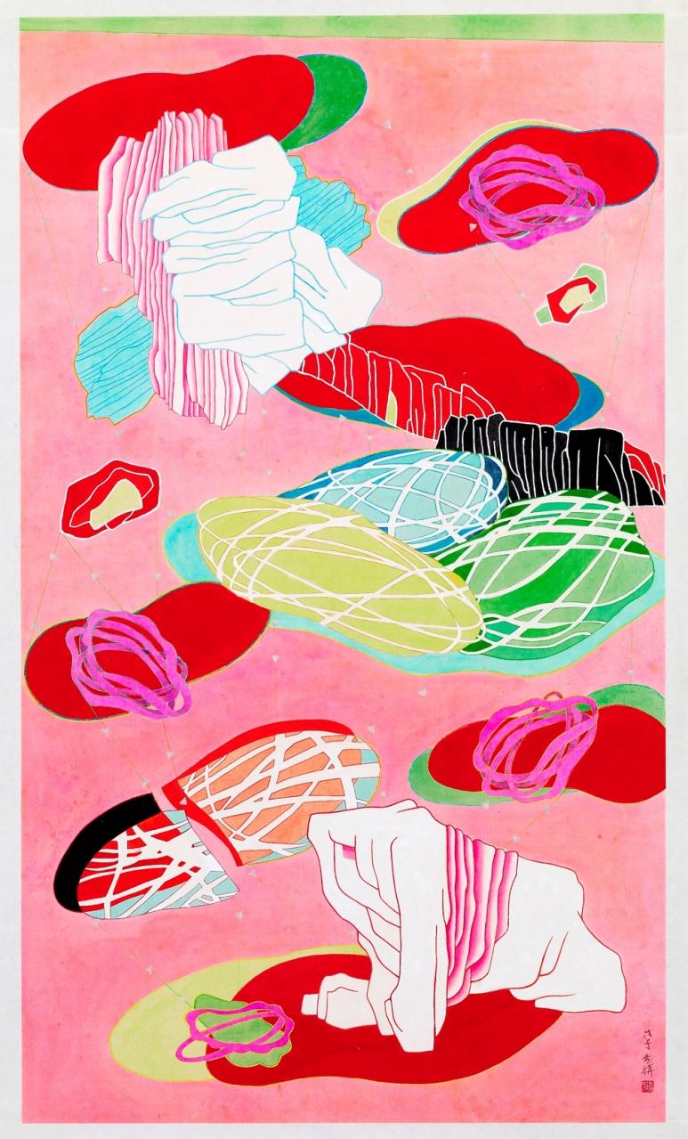 袁旃Yuan Jai_尋石園之一Stone Garden Lost I _重彩絹本Ink and colour on silk_ 108 x 62 cm_2008_寒舍空间,台北My Humble House Art Gallery, Taipei.jpg