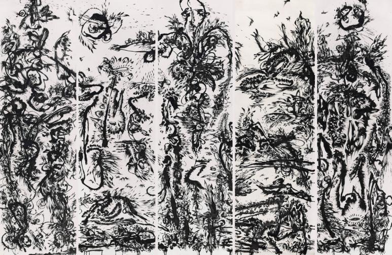 黃致陽Huang Zhiyang_ Zoon-北京生物之春1號Zoon-Beijing Bio Spring No.1_水墨絹本Ink on silk_475 x 120 cm x 5屏475 x 120 cm x 5 panels_2013_墨齋,北京Ink Studio, Beijing.jpg