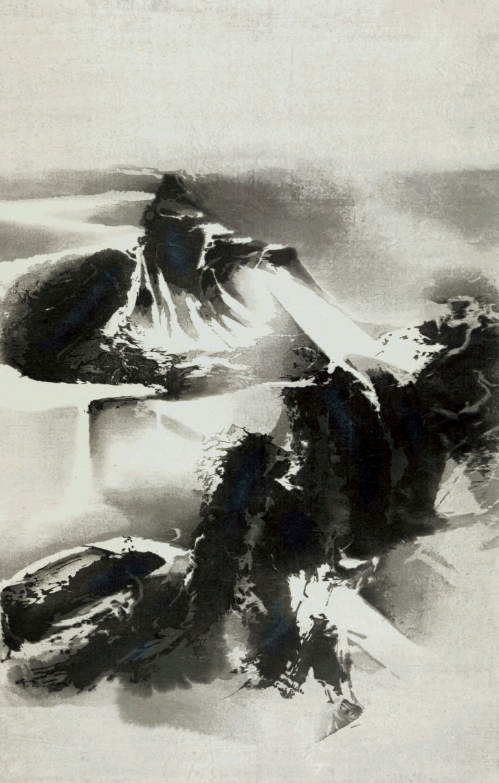 劉國松Liu Kuo-sung_寒山雪霽Wintery Mountains Covered with Snow_木刻浮水印 版數100 Woodblock print Edition of 100_ 100  x 64 cm_2014_Loftyart.jpeg