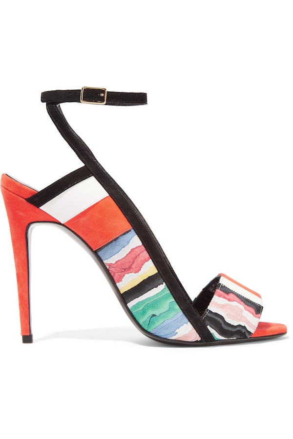 PIERRE HARDY Leather-trimmed printed suede sandals.jpg