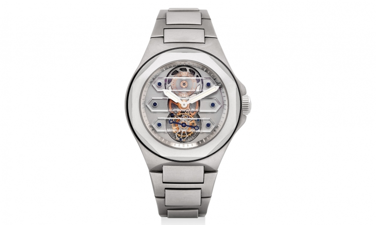 _1017_Girard-Perregaux. A fine, rare and unusual titanium and platinum skeletonised three sapphire bridge tourbillon wristwatch with bracelet, numbered 0. Circa 2009.jpg