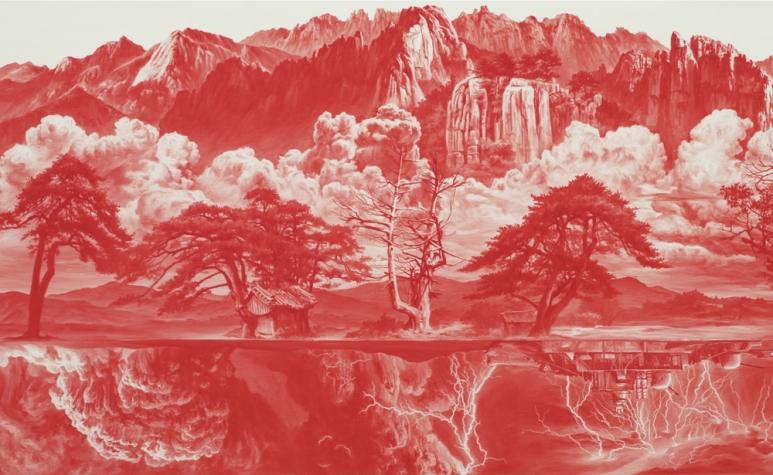 Lee Sea Hyun 李世賢 b.1967 Between Red – 014AUG03 紅色之間-014AUG03, 2014 Oil on linen 亞麻布面油畫 70 x 130 cm; 27 1_2 x 51 1_8 in. .jpg